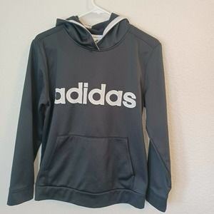 Youth Black Adidas Polyester Long-Sleeved Hoodie Sweater
